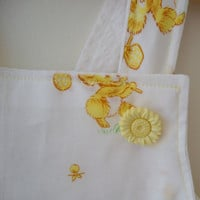 Baby sundress, jumper or pinafore with bloomers diaper cover set size 1 handmade upcycled vintage fabric white yellow baby koalas