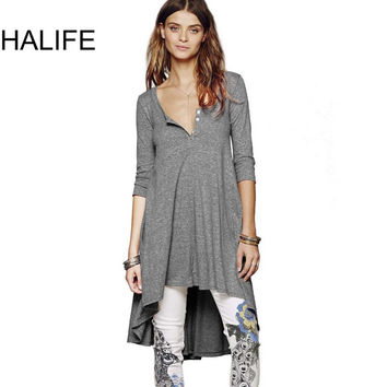 HALIFE Punk Rock Long Tunic Tops For Women T-shirt 3/4 Sleeve High Low Asymmetrical Hem Tunic Tee Shirt Femme Poleras De Mujer