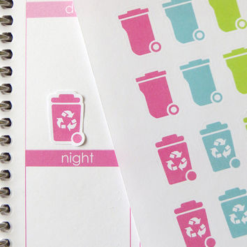 32 Trash Can/24 Recycle Stickers for Erin Condren Planner, Filofax, Plum Paper