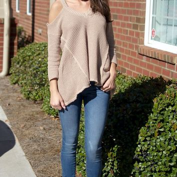 Taupe Cold Shoulder Sweater