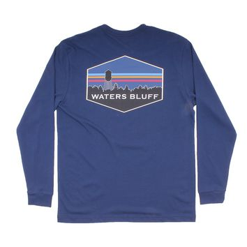 Midnight Tower Long Sleeve Tee in Navy by Waters Bluff