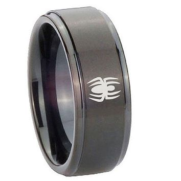 10mm Spiderman Step Edges Brush Black Tungsten Carbide Personalized Ring