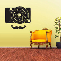 Wall Decal Vinyl Sticker Decals Hipster Photo camera mustache Fashion z1699