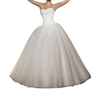 Lttdress Women's White Ivory Beaded Sweetheart Wedding Dress Bridal Gown