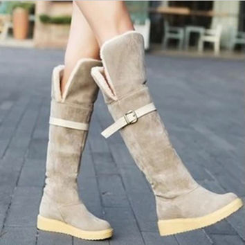 Women's Fashion Winter Boots Cute Style Warmth in Calf Suede Boots Flat Shoes Snow Boots
