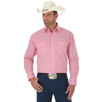Wrangler Mens Tough Enough To Wear Pink Long Sleeve Snap Shirt