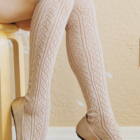 Beautiful Vintage style  cream color  long socks, cute  lace boots socks.  cream lacy socks