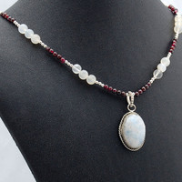 Opalescent Moonstone and Rich Red Garnet Handmade Gemstone Necklace.
