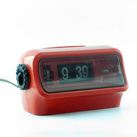 Japanese Vintage Flip Clock Copal SP-128/ Orange Alarm Clock/ RetroTable Clock / Retro 70's Japan