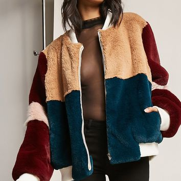 SHACI Faux Fur Colorblock Jacket