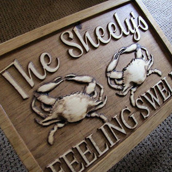 Personalized Beach Crab Ocean Lake sign plaque carved wood