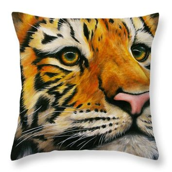 "Lonely Tiger Throw Pillow for Sale by Kathleen Wong - 20"" x 20"""