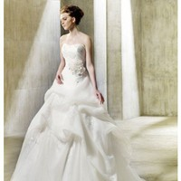 A Line Sweetheart Floor Length Natural Waist Gown with Organza Nubit : $238.00 at VikiDress.com.