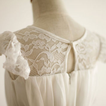 Lace Chiffon Cap Sleeves Flower Girl Dress Baby Girl Infant Toddler PAGEANT Party Birthday Dress with Flower Sash