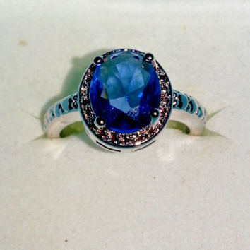 Silver Plated Ladies Fashion Light Blue Sapphire Ring Size 7.25