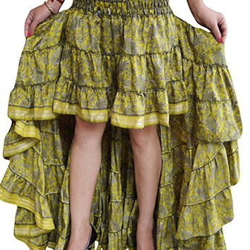 Mogul Interior Women Hi Low Skirt Recycled Sari Gypsy Fashion Long Skirt Ruffle Flirty Skirts S/M