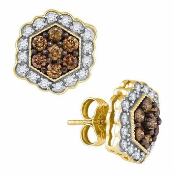 10kt Yellow Gold Women's Round Cognac-brown Color Enhanced Diamond Hexagon Flower Cluster Earrings 7-8 Cttw - FREE Shipping (USA/CAN)