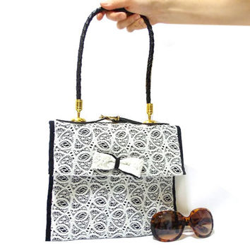 Lace Purse, Handmade Lace bag, Free Shipping, White, Lace Shoulder, Lace purse, Black and white, Unique handbag, Genuine leather handle