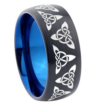 8mm Celtic Knot Dome Tungsten Carbide Blue Wedding Band Mens