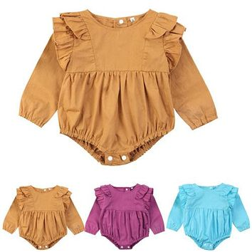 Cute Newborn Infant Baby Girls Kids Cotton Ruffles Long Sleeve Romper Sunsuit Clothes Outfits