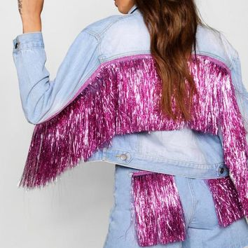 Tinsel Tassel Oversize Denim Jacket | Boohoo