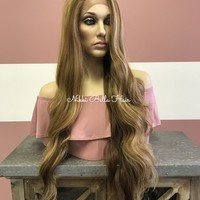 "Honey Blond 30"" Swiss lace front wig 