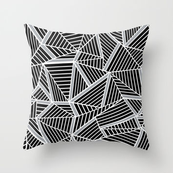 Ab lines Zoom Black and Silver Throw Pillow by Project M