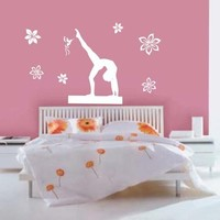 Large--Easy instant decoration wall sticker wall mural Sport Gymnastic-gymnastics beam dance