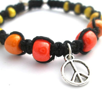 Peace Sign Bracelet Beaded Black Hemp Bracelet Peace Charm Hippie Bracelet Orange Yellow Square Knot