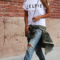 Celfie tee funny shirt inspired selfie celine women Fashion tumblr clothes XS-XXL