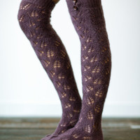 Plum Knitted Boot Socks with Buttons - Fashion Women's Legwear Plum Socks and Buttons for Stocking Stuffers (BS-15)