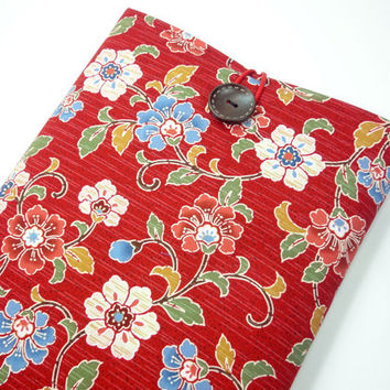 Macbook Air 11 inch Sleeve, Kimono Macbook Air Cover Japanese Kimono Cotton Fabric Flowers Red