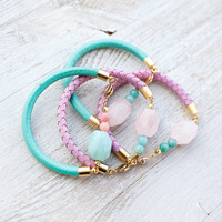 Pastel Quartz Leather Cord Bracelet by pardes israel