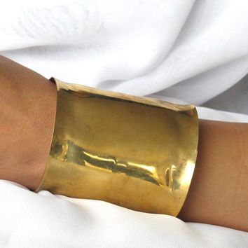 Gold Wonder Woman Brass Cuff, super wide wrist cuff