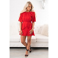 Pure Love Short Sleeve Dress (Red)