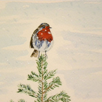 European robin painting. Robin sitting on a spruce. Winter art. Unique christmas card. Snow. Original watercolor painting.