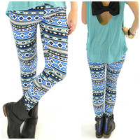 Waterford Banks Blue Aztec Leggings