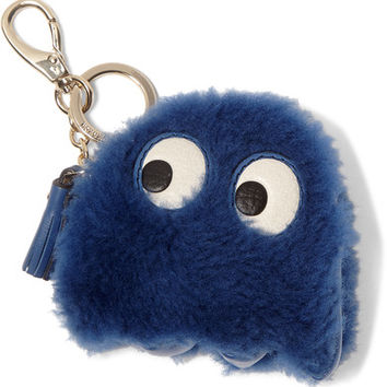 Anya Hindmarch - Ghost leather-trimmed shearling keychain