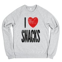 I Love Snacks (crew neck)-Unisex Heather Grey Sweatshirt