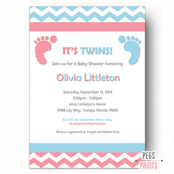 Boy And Girl Twins Baby Shower Invitation // Printable Baby Shower  Invitation Twins //