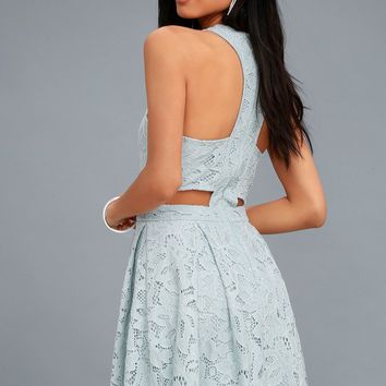Daisy Date Light Blue Lace Skater Dress