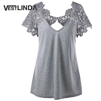 VESTLINDA Plus Size 5XL Lace Blouse Cutwork V Neck Flare Sleeve Blusa Womens Clothing Blusas Mujer Blouse Femme 2017 Summer Tops