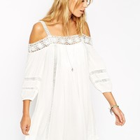 ASOS Boho Swing Dress With Crochet Inserts And Cold Shoulder
