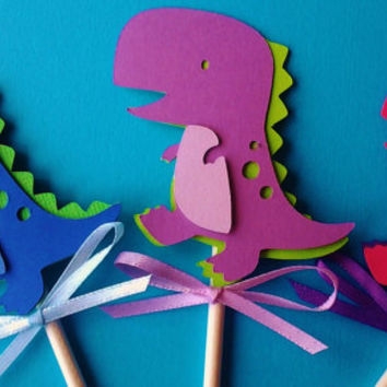 Dinosaur toppers, cupcake toppers, Dinosaur birthday, Boy birthday,Girl Dinosaur decor,Pink dinosaur,purple dinosaur