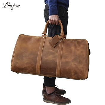 Men's big capacity genuine leather travel bag durable crazy horse leather travel duffel Real leather large shoulder weekend bag