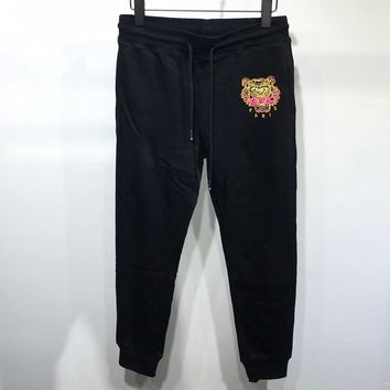KENZO Woman Men Fashion Embroidery Pants Trousers