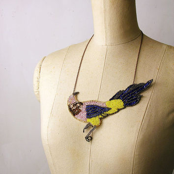 statement necklace - LOVE BIRD - beaded sequined necklace - cocktail - sparkle - metallic -nature - pink - cobalt- yellow - spring