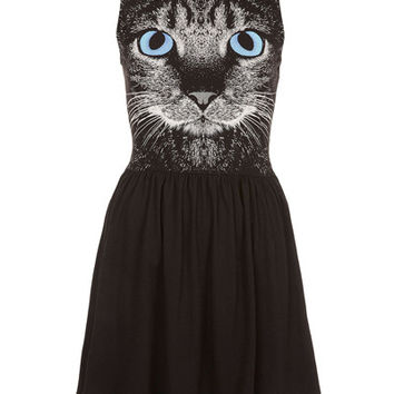 Black Cat Print Sleeveless Pleated Dress