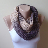 Free ship wool knit  infinity scarf  circle scarf loop cozy scarf woman accessory brpwn cream beige