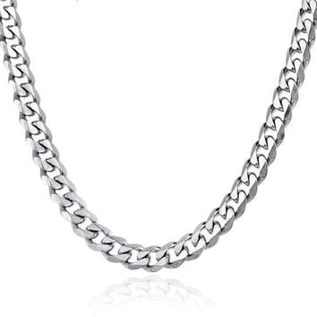 Mens Chain Stainless Steel Necklace Curb Cuban Link Silver